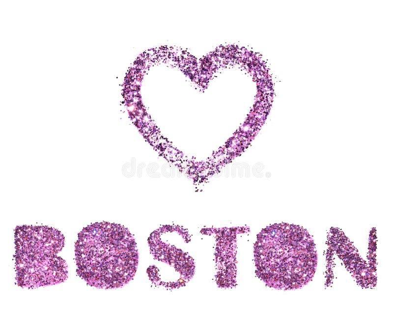 Miłości Boston, serca i miasta imię odizolowywający na białym tle purpury błyskotliwość, obrazy stock