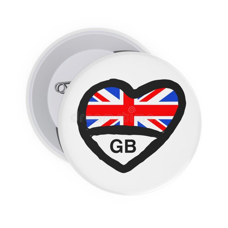 Miłości Brytania Wielki pojęcie Biel Wałkowe odznaki z sercem, Wielką Brytania flagą i znakiem, świadczenia 3 d ilustracja wektor