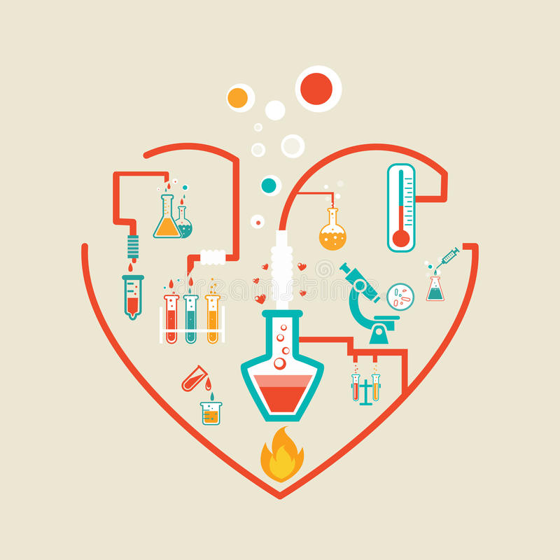 Miłości chemia ilustracji