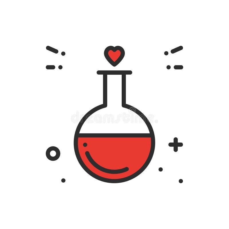 Miłości chemii linii ikona Próbnej tubki miłości reakci butelki rzadkopłynnej laboranckiej nauki miłości romantyczny temat serce  ilustracja wektor