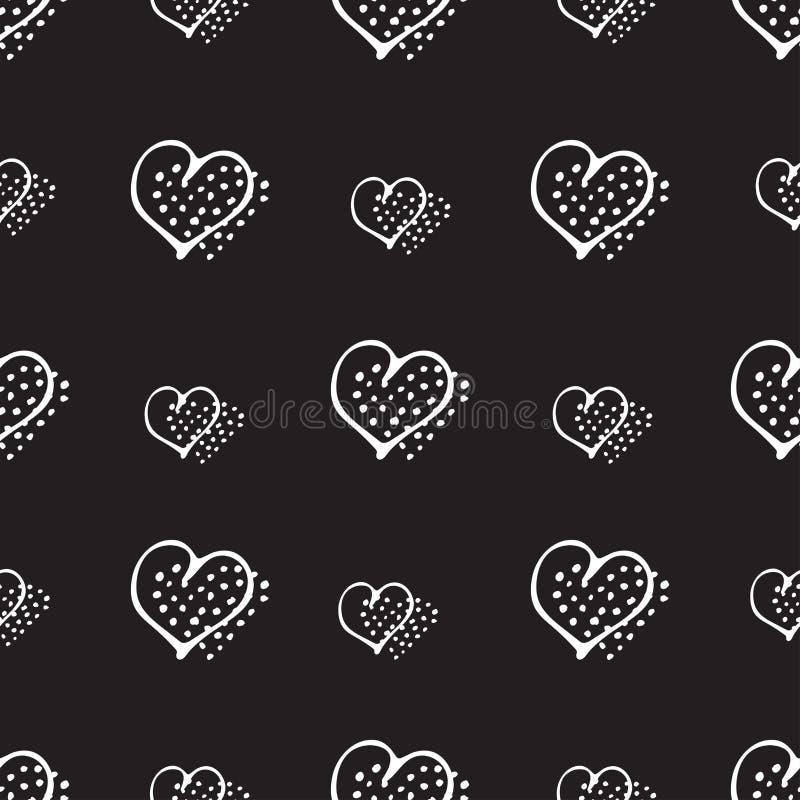 Miłości doodle bezszwowi deseniowi romantyczni serca royalty ilustracja