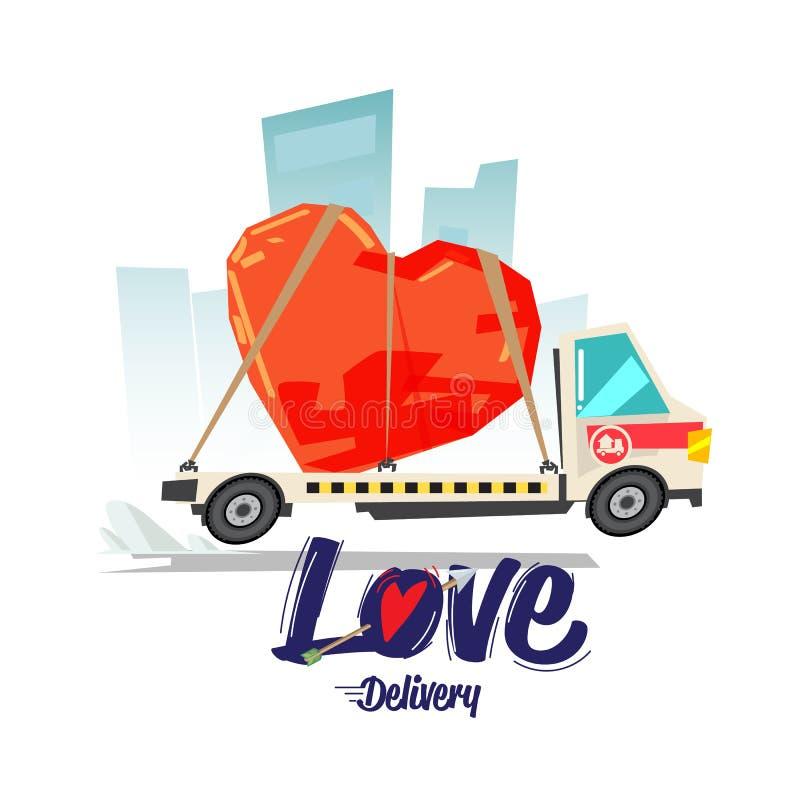 Miłości dostawy pojęcie miłość kierowy kształt na ciężarówce - wektor ilustracja wektor