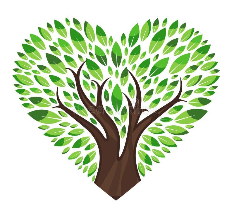 Miłości drzewo z liśćmi ilustracja wektor