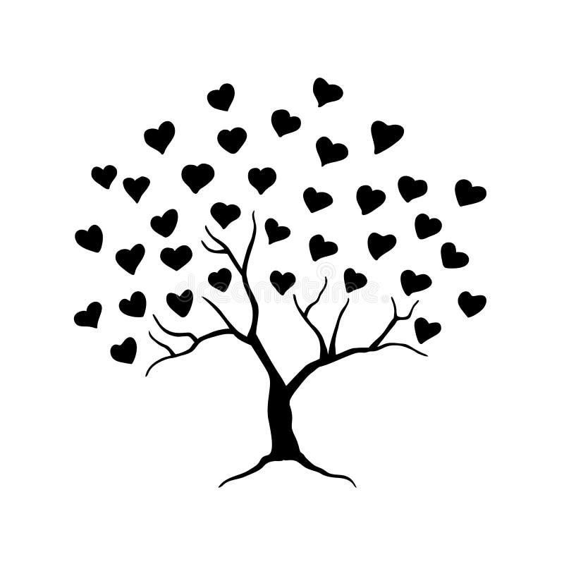 Miłości drzewo z liśćmi od serc Abstrakcjonistyczny drzewo dla poślubiać lub valentine projekta również zwrócić corel ilustracji  ilustracja wektor