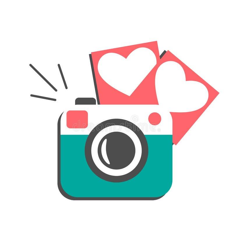 Miłości fotografii płaska kamera z serce fotografii ramami odizolowywać ilustracji