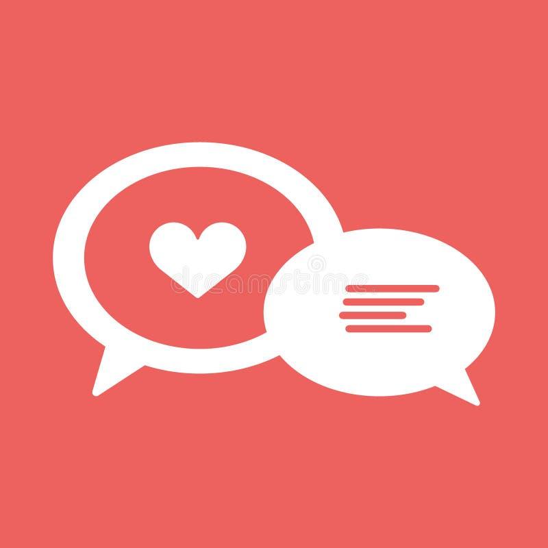 Miłości gadki linii ikona, serce w mowa bąblu, wektorowe grafika ilustracji