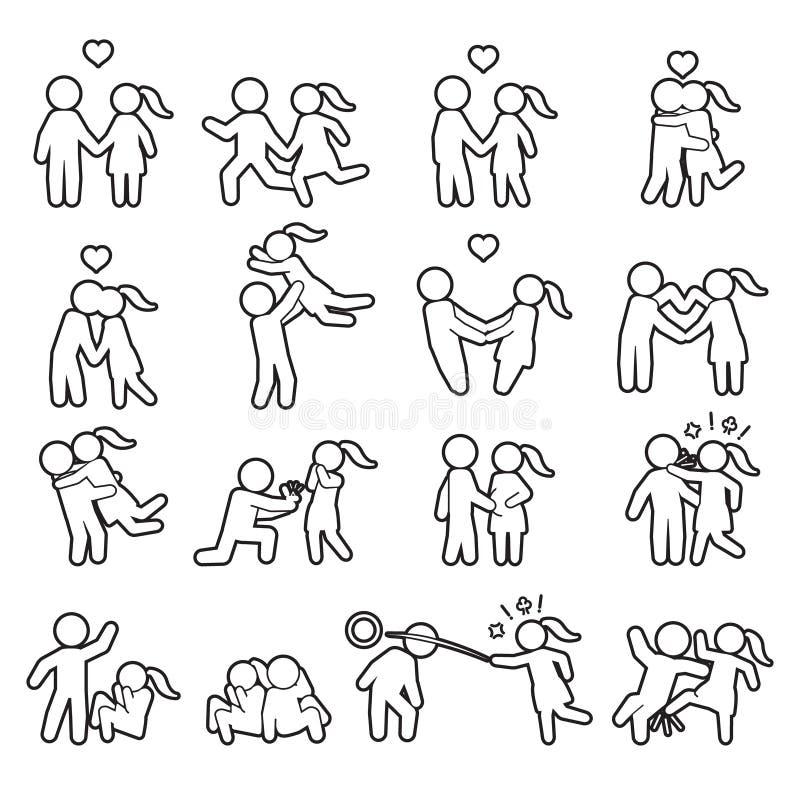Miłości i pary ikony cienki kreskowy set Miłość konturu ikony set wektor royalty ilustracja
