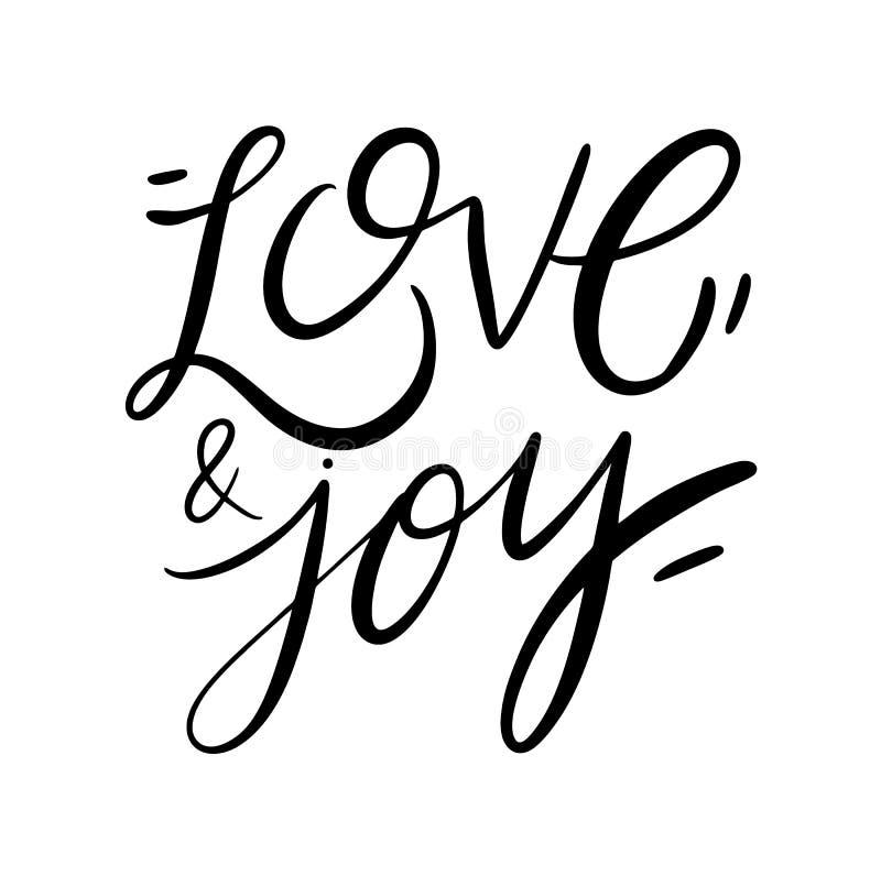 Miłości i radości bożych narodzeń ręka pisać kartka z pozdrowieniami Wakacyjny zaproszenie odizolowywający na białym tle ilustracji