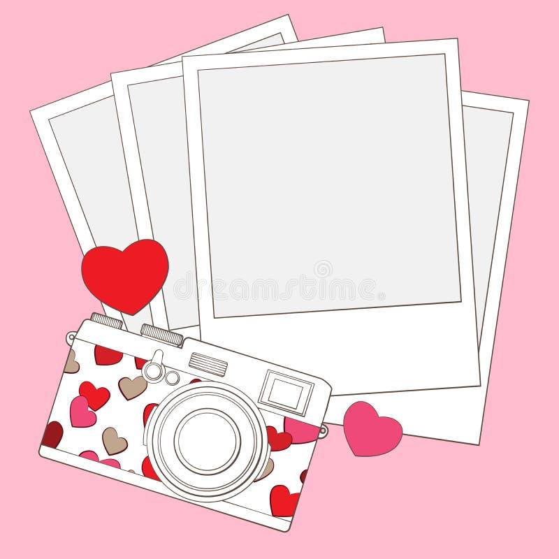 Miłości i serce fotografii kamery tło ilustracji