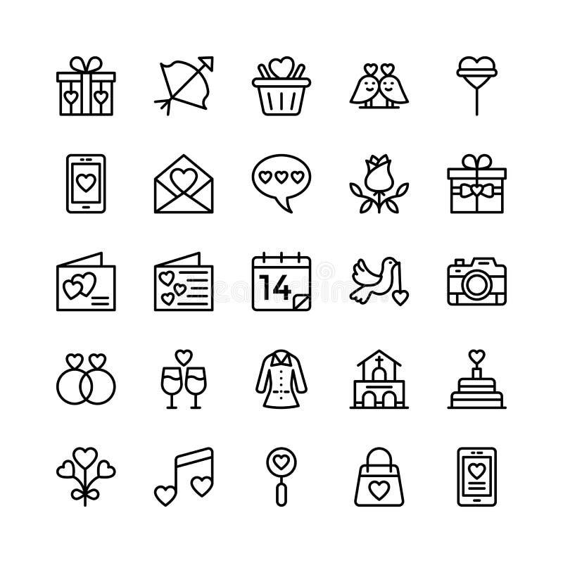 Miłości i walentynki Kreskowe Wektorowe ikony 8 ilustracji