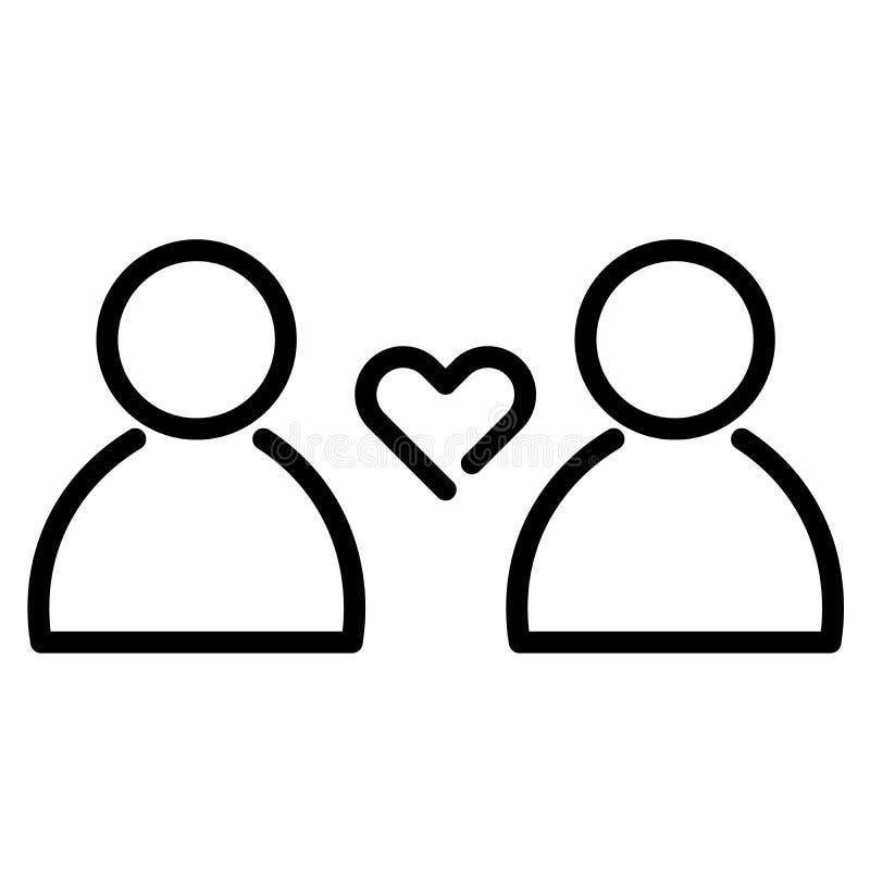 Miłości i związku ikona Kierowy symbol między dwa ludźmi Konturu nowożytnego projekta element Prosty czarny płaski wektor ilustracja wektor