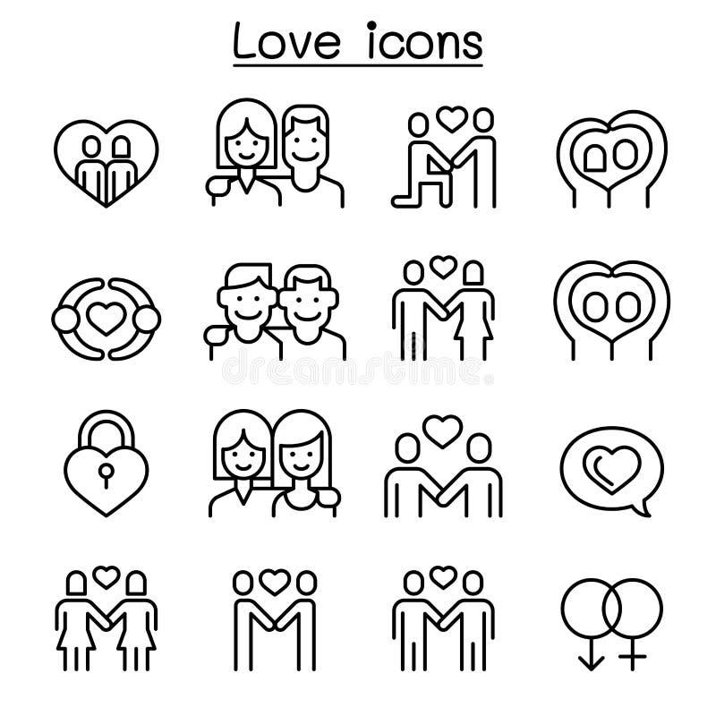 Miłości ikona ustawiająca w cienkim kreskowym stylu ilustracji