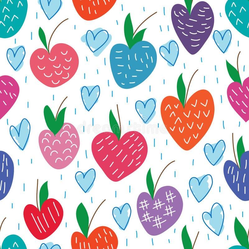 Miłości jabłka bezpłatny rysunkowy bezszwowy wzór ilustracja wektor