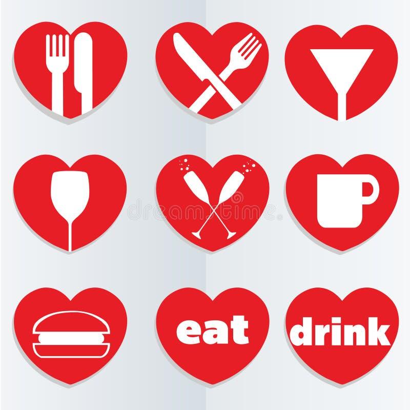 Miłości jedzenia ikony ilustracja wektor