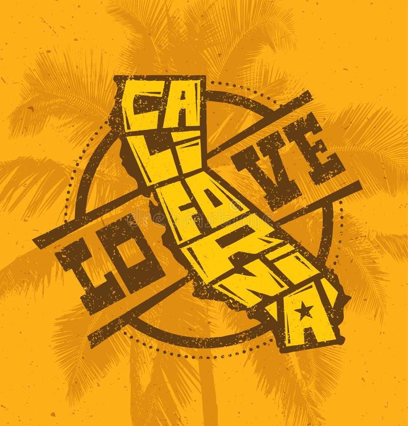 Miłości Kalifornia koszulki druku Kreatywnie projekt na drzewka palmowego tle royalty ilustracja