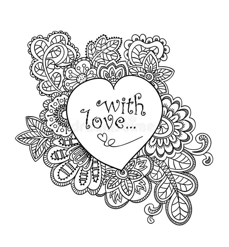 Miłości karta w doodle stylu royalty ilustracja