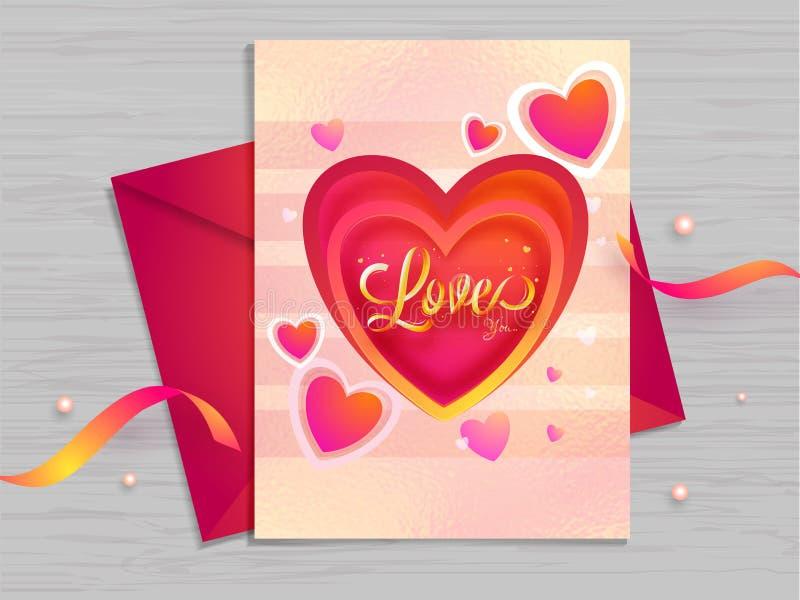 Miłości kartki z pozdrowieniami projekt dekorujący z malutkim sercem kształtuje na drewnianym tekstury tle royalty ilustracja