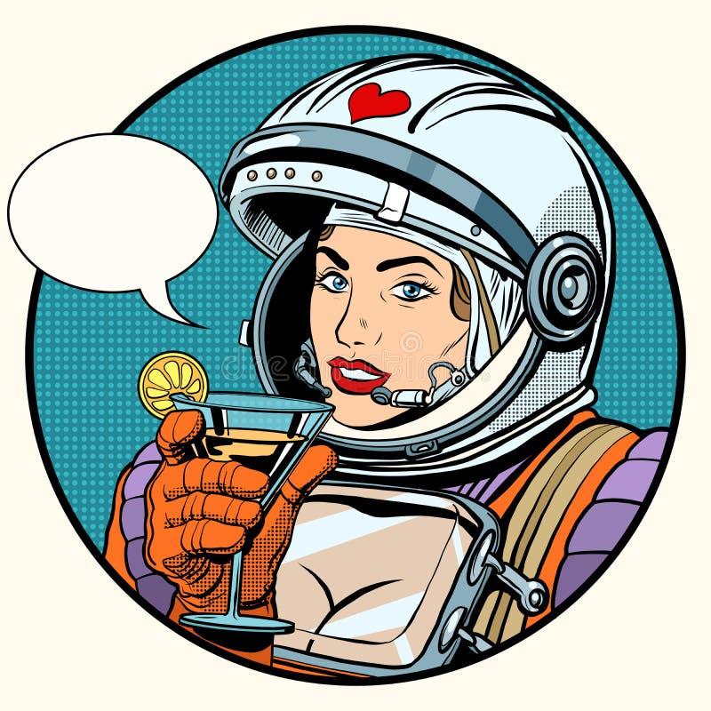 Miłości kobiety kosmonauta koktajl ilustracja wektor