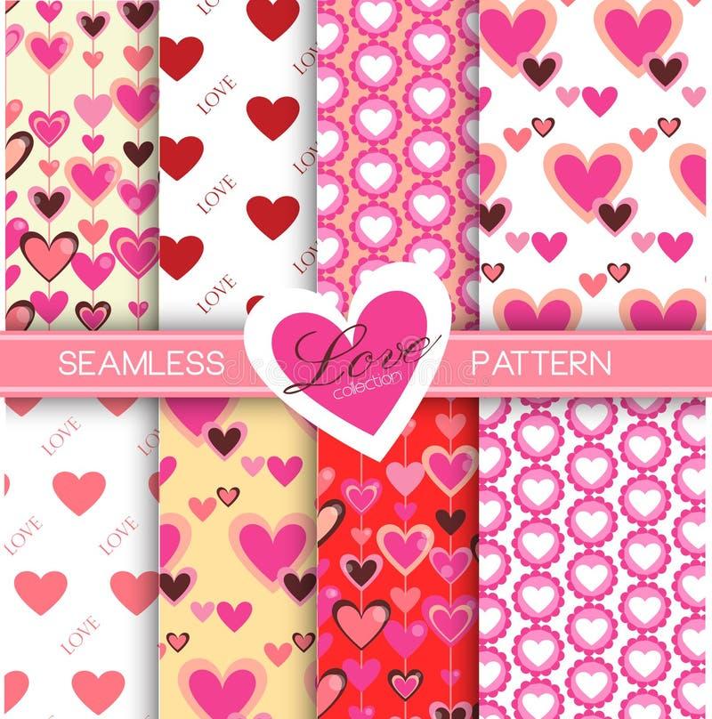 Miłości kolekcja: Set 8 miłość inkasowych bezszwowych wzorów ilustracji