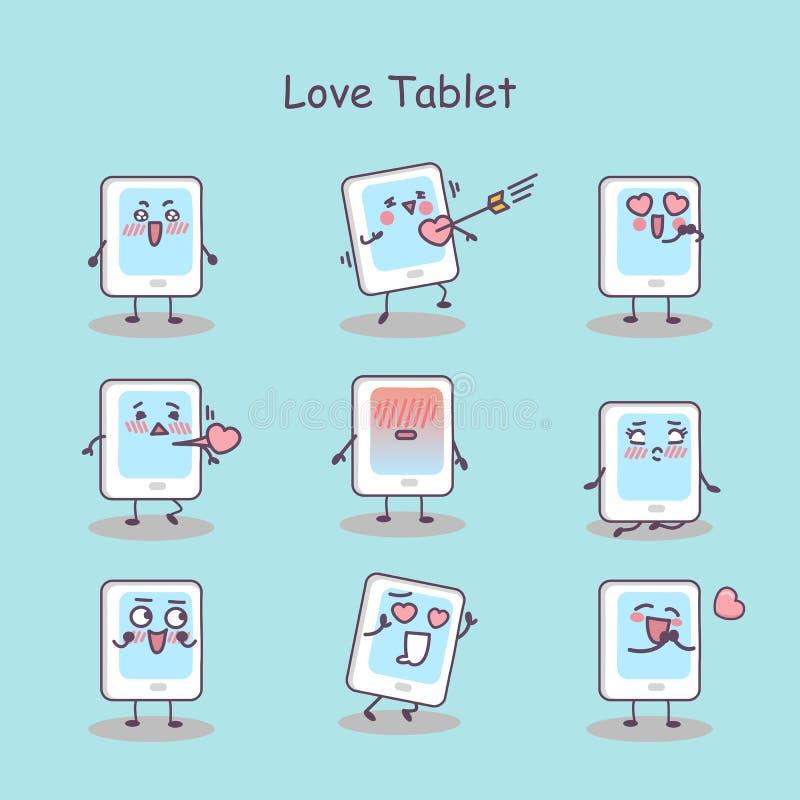 Miłości kreskówki pastylki cyfrowy komputer osobisty ilustracji
