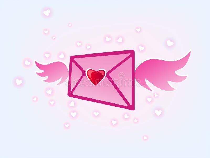 miłości latająca poczta ilustracja wektor