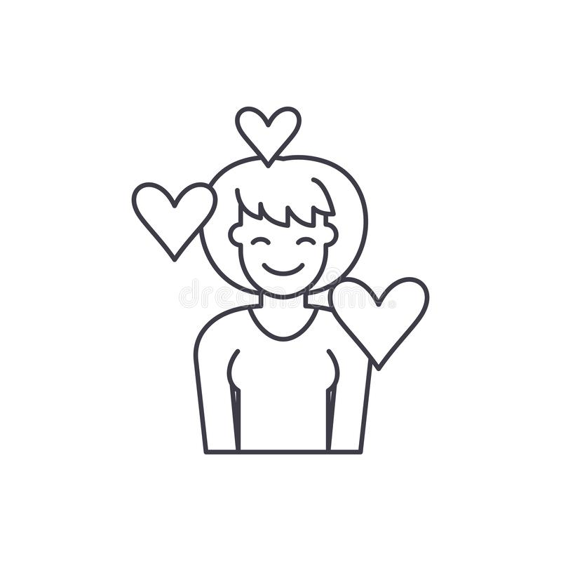 Miłości linii ikony pojęcie Kocha wektorową liniową ilustrację, symbol, znak ilustracja wektor