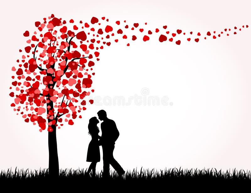 miłości mężczyzna drzewa kobieta ilustracja wektor