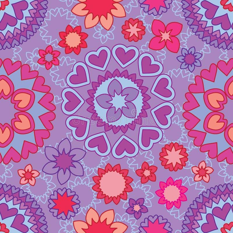 Miłości mandala kwiatu linii bezszwowy wzór ilustracja wektor