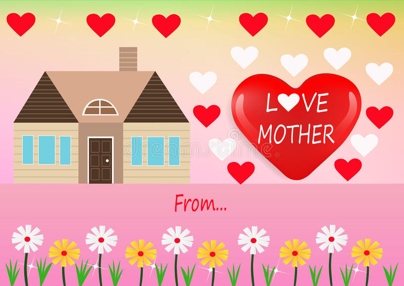 Miłości matki karta royalty ilustracja