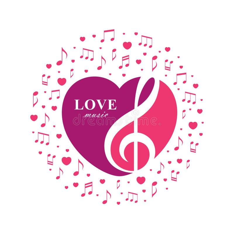 Miłości muzyczna ilustracja z treble clef wśrodku kierowego kształta royalty ilustracja