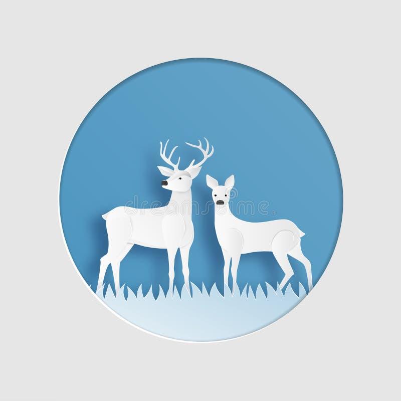 Miłości para renifer w zimy trawy polu w papieru cięcia stylu Kreatywnie wektorowy ilustracyjny Bożenarodzeniowy świętowanie Wale ilustracji
