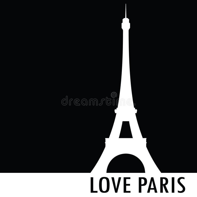Miłości Paris czerni wektoru sylwetka royalty ilustracja