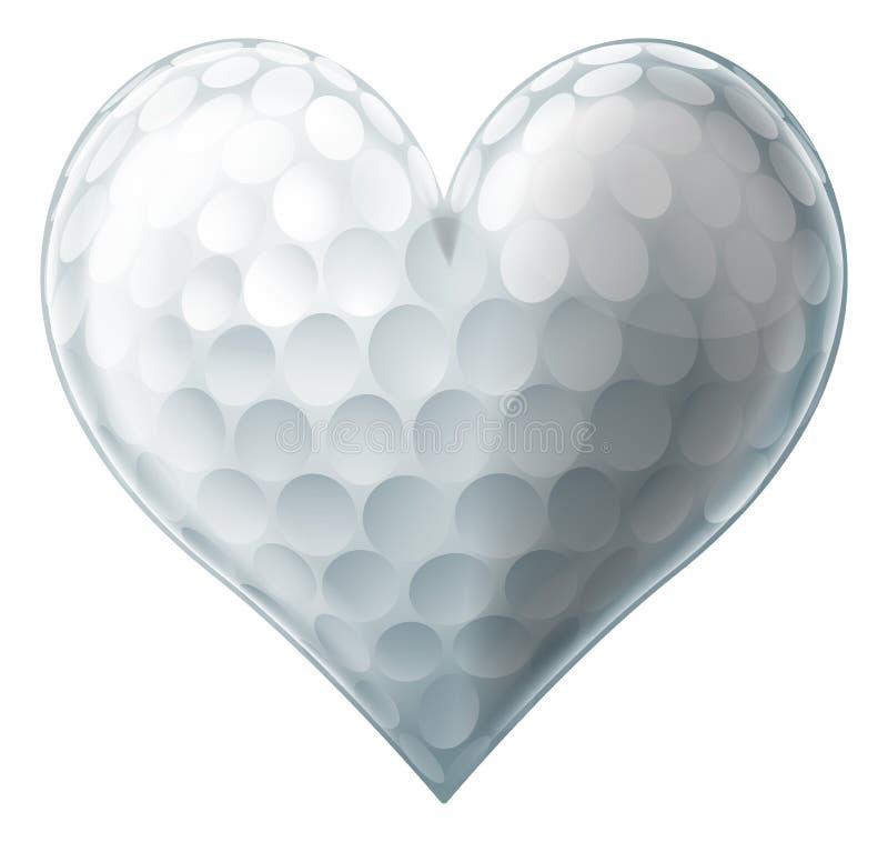 Miłości piłki golfowej serce ilustracja wektor