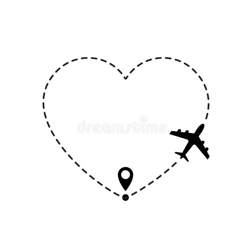 Miłości podróży trasa Samolot kreskowej ścieżki wektorowa ikona lotniczego samolotu lota trasa z kreskowym śladem ilustracja wektor