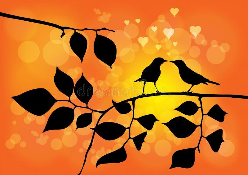 Miłości Ptaki na Drzewie z Zmierzchu Wektorem ilustracji