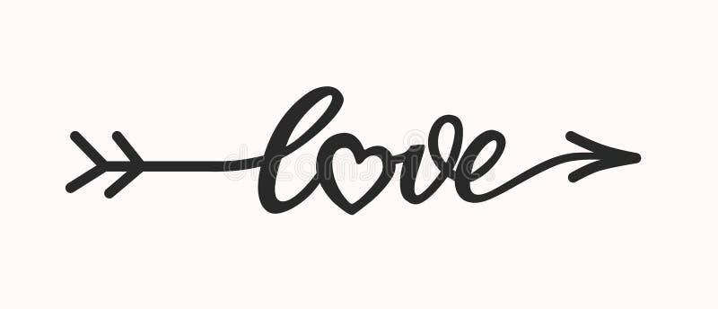 Miłości ręka rysujący literowanie w formularzowej strzała zdjęcie royalty free