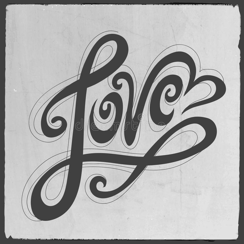 Miłości ręki literowanie ilustracji