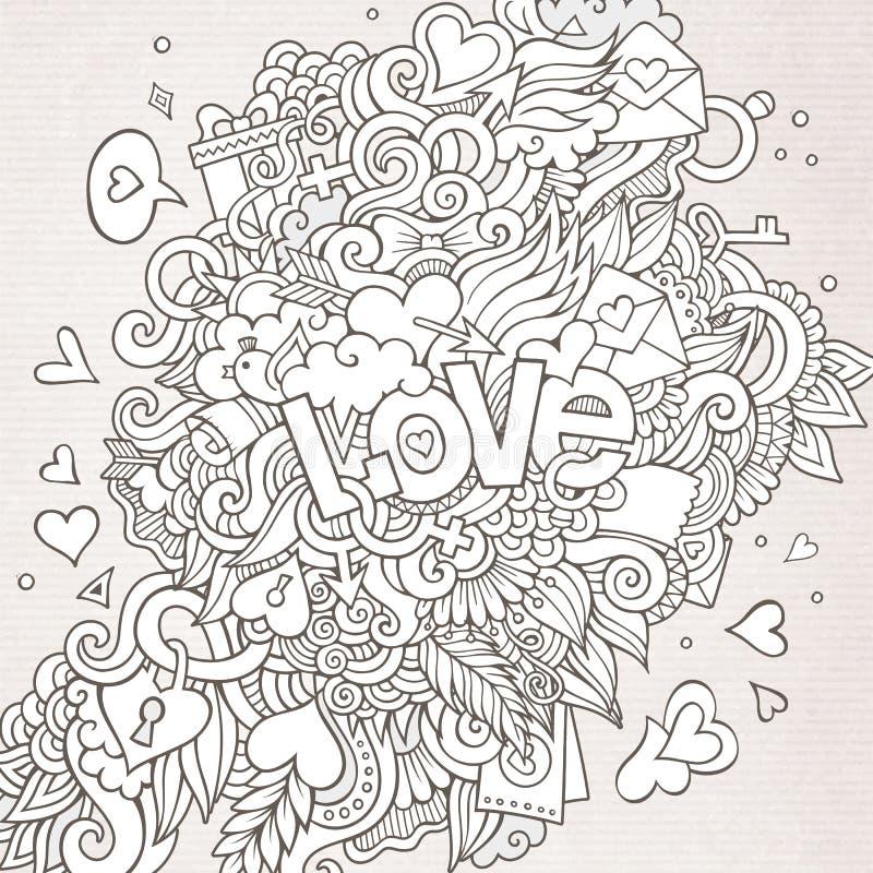 Miłości ręki literowanie i doodles elementy ilustracja wektor