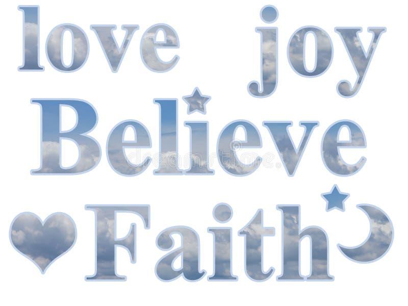 Miłości radość Wierzy wiarze Gwiazdowego księżyc serce ilustracji