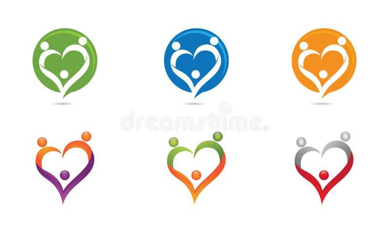 Miłości rodziny logo ilustracja wektor