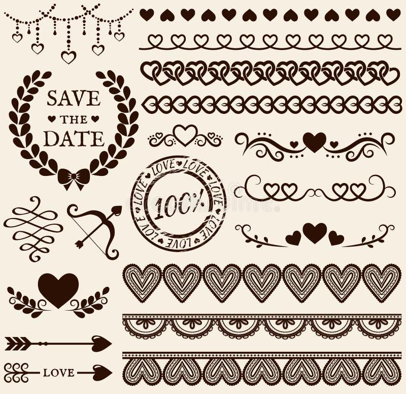Miłości, romansu i ślubu projekta elementy, kreskówki serc biegunowy setu wektor royalty ilustracja