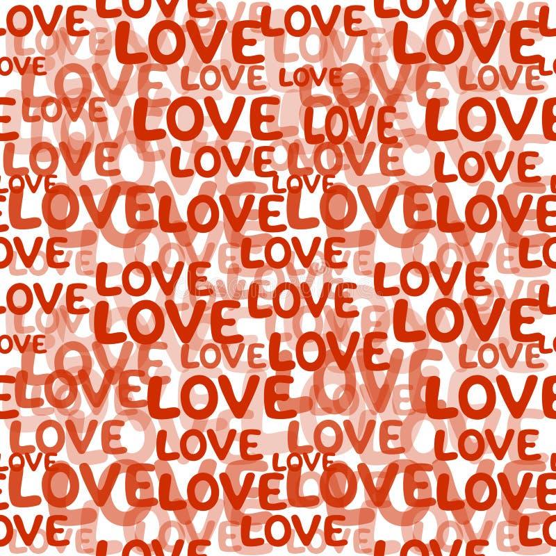 Miłości słowa bezszwowy wzór royalty ilustracja