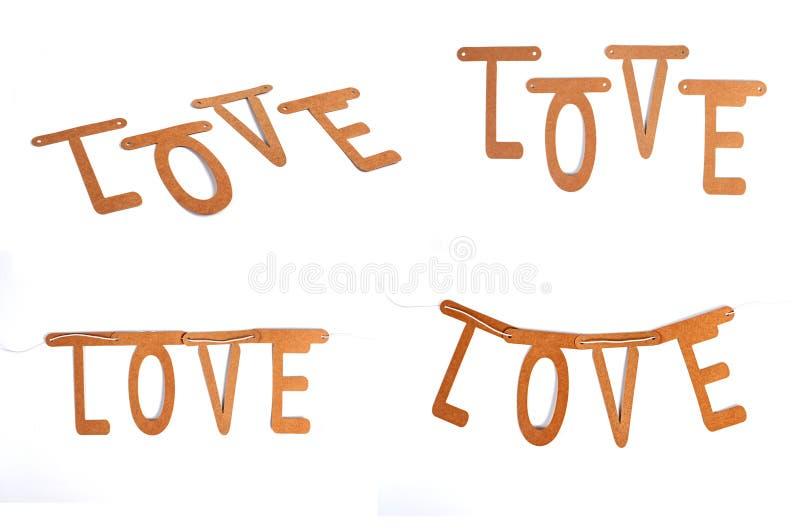 Miłości słowa budowa z listowymi blokami obraz stock