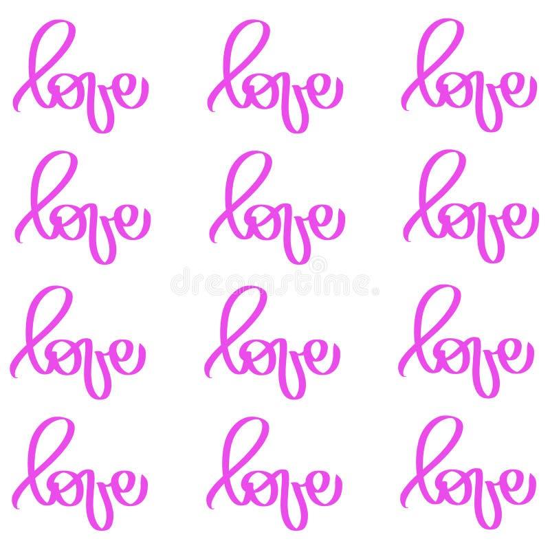 Miłości słowo na zawsze deseniuje Romantyczny symbol ??cz?cy, ??czy, pasja i ?lub Szablon dla trójnik koszula, karta, plakat Proj ilustracji