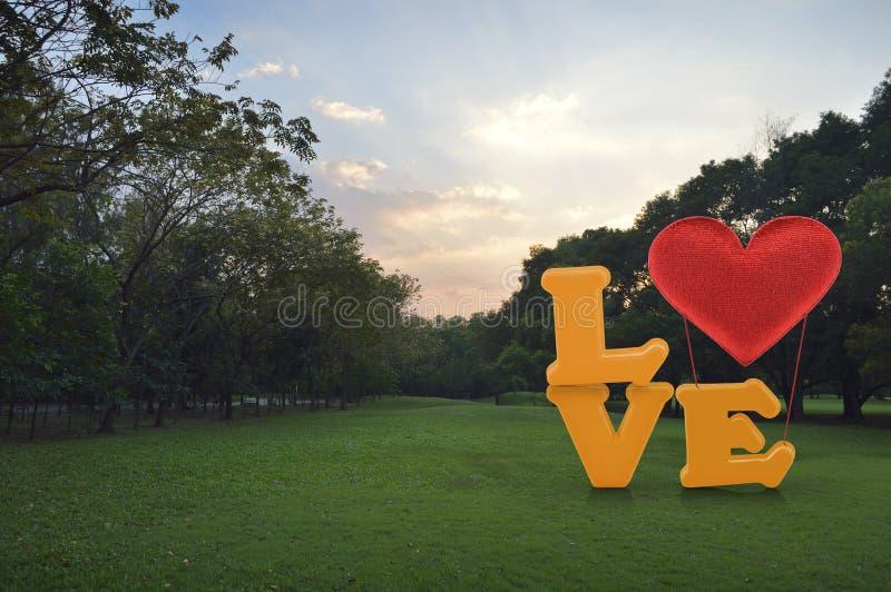 Miłości słowo z kierowym kształta ballon na zielonej trawie w parku zdjęcia stock