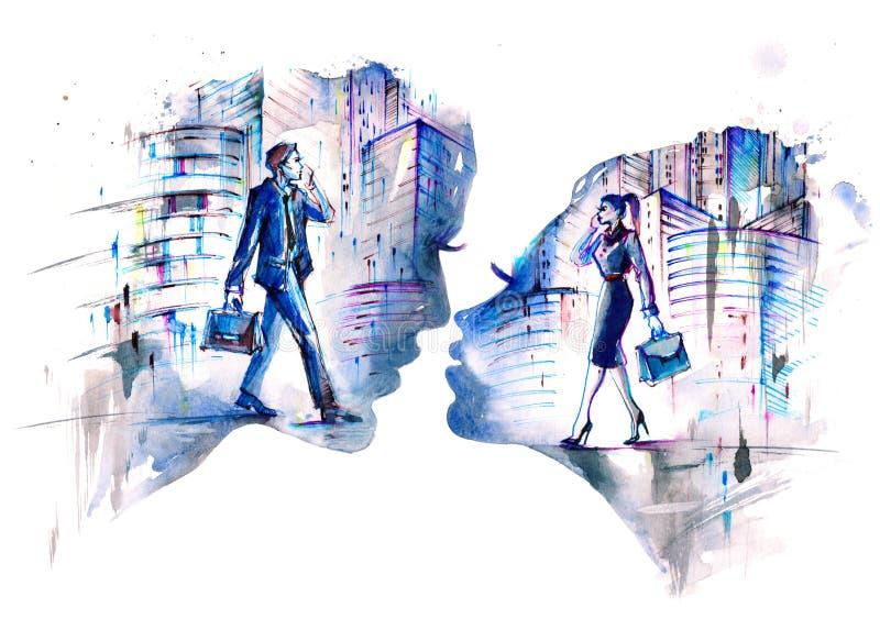 Miłości sprawa przy pracą ilustracji