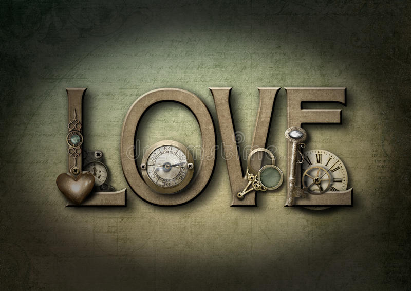 Miłości steampunk ilustracja wektor