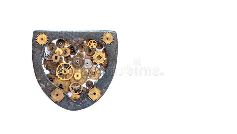 Miłości steampunk maszynerii kierowy ornament na bielu Starzejący się żelazny kierowy kształt z wiele cogs przekładni kołami styl obrazy stock