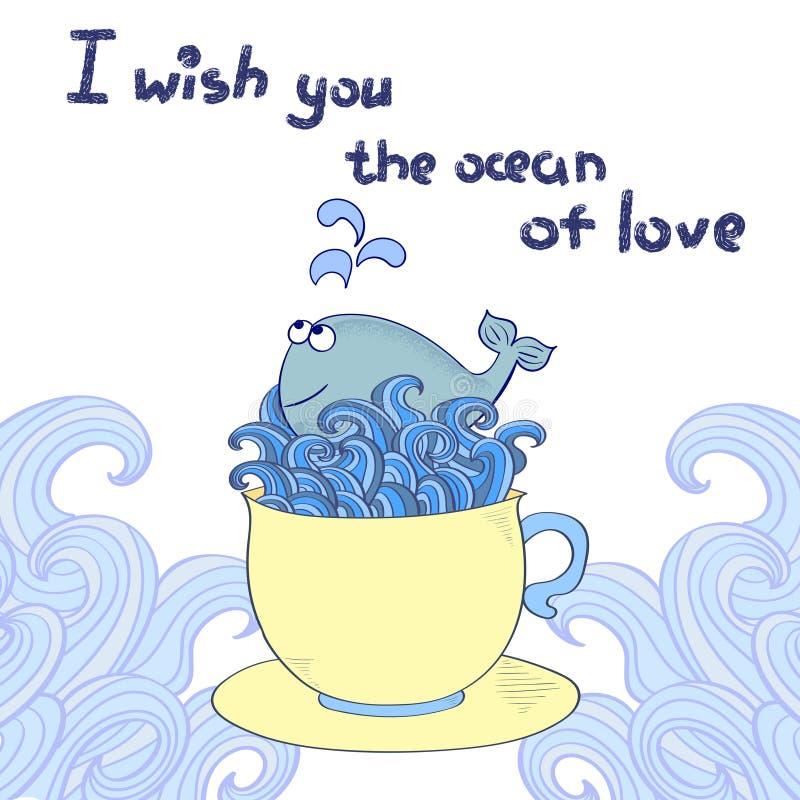 Download Miłości Tło Śliczny Kreskówka Wieloryb W Filiżance Ilustracja Wektor - Ilustracja złożonej z morze, śmieszny: 65226352