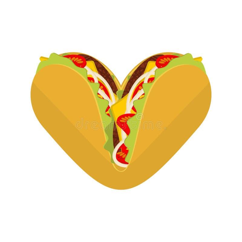 Miłości Tacos Symbolu kochanka meksykanina fast food Taco serce royalty ilustracja